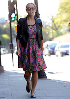 May 2nd, 2013 - London..Myleene Klass seen out in London with a flower print dress on. ..****** BYLINE MUST READ : © Spread Pictures ******..****** No Web Usage before agreement ******..****** Strictly No Mobile Phone Application or Apps use without our Prior Agreement ******..Enquiries at photo@spreadpictures.com
