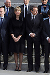 Ex Prime Minister Jose Lis Rodriguez Zapatero (right) and his wife Sonsoles Espinos (left) await the arrival of the coffin before the funeral chapel in honor of Prime Minister Adolfo Suarez in the Congress of Deputies in Madrid, Spain. March 24, 2014. (ALTERPHOTOS/Caro Marin)