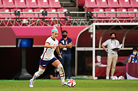 KASHIMA, JAPAN - AUGUST 2: Julie Ertz #8 of the United States goes forward during a game between Canada and USWNT at Kashima Soccer Stadium on August 2, 2021 in Kashima, Japan.