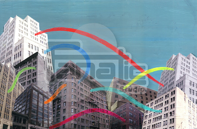 Illustration of buildings with colorful lights connecting each other representing social networking