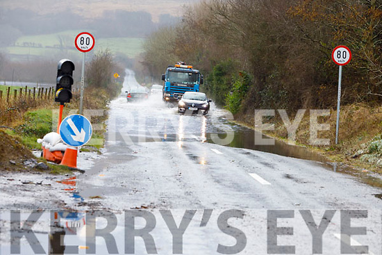 Castlemaine Road flooded at Aherns Rd on Monday morning.