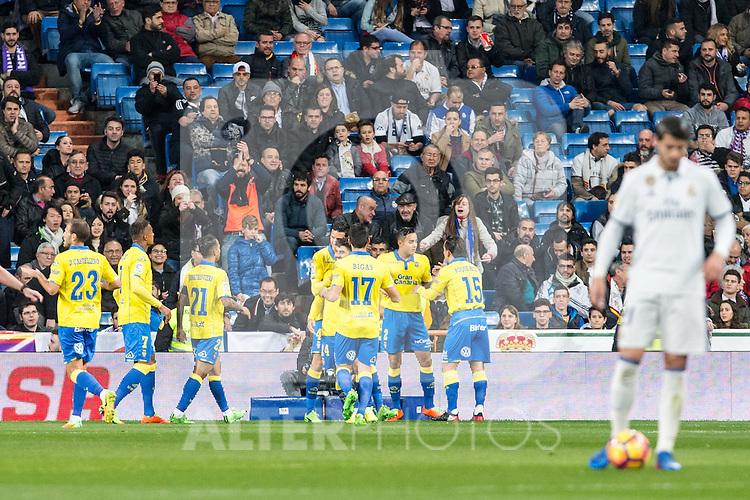 Pedro Tanausu Tana celebrates after scoring a goal  during the match of Spanish La Liga between Real Madrid and UD Las Palmas at  Santiago Bernabeu Stadium in Madrid, Spain. March 01, 2017. (ALTERPHOTOS / Rodrigo Jimenez)