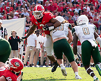 ATHENS, GA - SEPTEMBER 11: Kendall Milton #2 is tackled by Tamarious Brown #50 during a game between University of Alabama Birmingham Blazers and University of Georgia Bulldogs at Sanford Stadium on September 11, 2021 in Athens, Georgia.