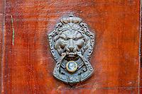 Antigua, Guatemala.  Door Knocker, Lion's Head.