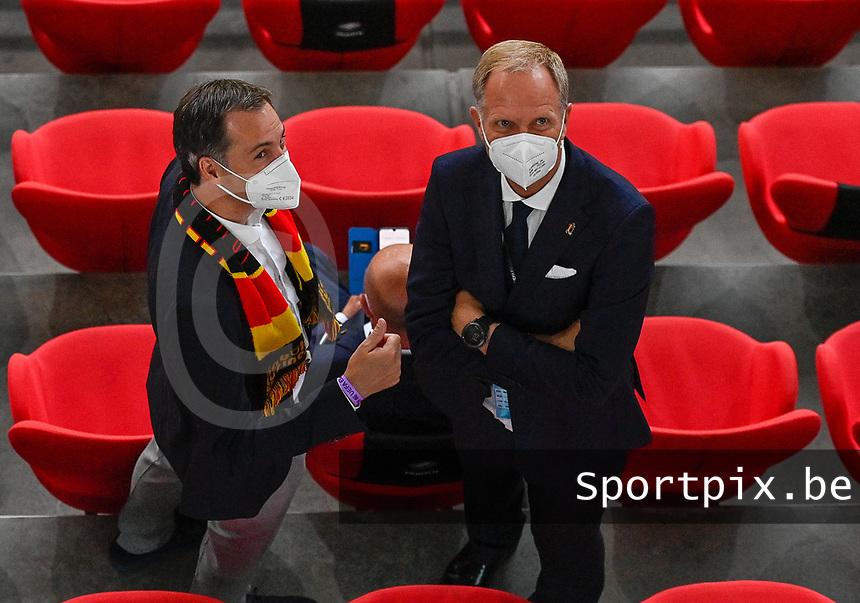 Belgian prime minister Alexander Decroo pictured  with Peter Bossaert during a soccer game during the quarter final Euro 2020 European Championship between the Belgian national soccer team Red Devils and Italy , called the Azzurri , on friday 2 nd of July 2021  in the Allianz Arena in Munchen , Germany . PHOTO SPORTPIX | SPP | DAVID CATRY