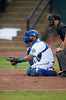 Bluefield Blue Jays catcher Andres Guerra (17) awaits the pitch in front of home plate umpire Adam Clark during the second game of a doubleheader against the Bristol Pirates on July 25, 2018 at Bowen Field in Bluefield, Virginia.  Bristol defeated Bluefield 5-2.  (Mike Janes/Four Seam Images)