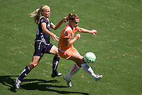Sky Blue FC defender and Captain Christie Rampone fends off LA Sol's Katie Larkin. The Sky Blue FC defeated the LA Sol 1-0 to win the WPS Final Championship match at Home Depot Center stadium in Carson, California on Saturday, August 22, 2009...