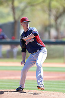 Robbie Aviles #55 of the Cleveland Indians pitches during a Minor League Spring Training Game against the Los Angeles Dodgers at the Los Angeles Dodgers Spring Training Complex on March 22, 2014 in Glendale, Arizona. (Larry Goren/Four Seam Images)