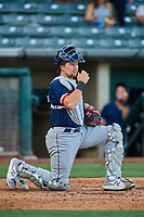 Cal Raleigh (29) of the Tacoma Rainiers during the game against the Salt Lake Bees at Smith's Ballpark on May 13, 2021 in Salt Lake City, Utah. The Rainiers defeated the Bees 15-5. (Stephen Smith/Four Seam Images)