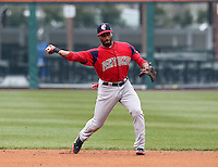 Pawtucket Red Sox second baseman Tony Thomas #2 throws to first during a game against the Buffalo Bisons at Coca-Cola Field on April 15, 2012 in Buffalo, New York.  Buffalo defeated Pawtucket 10-9 in ten innings.  (Mike Janes/Four Seam Images)