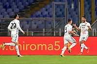 Gianluca Caprari of Benevento Calcio celebrates with team mates after scoring the goal of 0-1 during the Serie A football match between AS Roma and Benevento Calcio at Olimpico stadium in Roma (Italy), October 18th, 2020. Photo Antonietta Baldassarre / Insidefoto