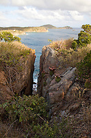 Scenic view and rocky cliffs along the.Tektite trail near Lameshur Bay.<br /> St John<br /> U.S. Virgin Islands