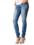 Closeup of woman legs wearing jeans denim pants and high heel shoes isolated on white background Image © MaximImages, License at https://www.maximimages.com