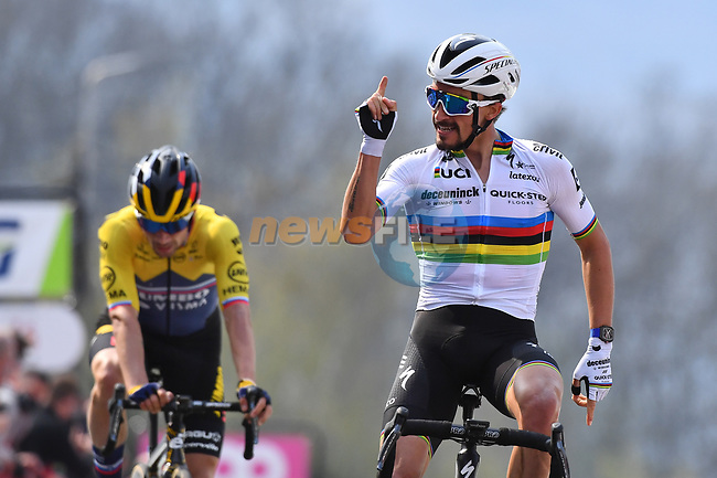 World Champion Julian Alaphilippe (FRA) Deceuninck-Quick Step wins on the final climb of the Mur de Huy ahead of Slovenian Champion Primoz Roglic (SLO) Jumbo-Visma at the end of the 2021 Flèche-Wallonne, running 193.6km from Charleroi to Huy, Belgium. 21st April 2021.  <br /> Picture: Serge Waldbillig | Cyclefile<br /> <br /> All photos usage must carry mandatory copyright credit (© Cyclefile | Serge Waldbillig)