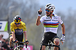 World Champion Julian Alaphilippe (FRA) Deceuninck-Quick Step wins on the final climb of the Mur de Huy ahead of Slovenian Champion Primoz Roglic (SLO) Jumbo-Visma at the end of the 2021 Flèche-Wallonne, running 193.6km from Charleroi to Huy, Belgium. 21st April 221.  <br /> Picture: Serge Waldbillig | Cyclefile<br /> <br /> All photos usage must carry mandatory copyright credit (© Cyclefile | Serge Waldbillig)