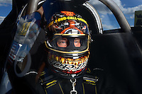 Sept 8, 2012; Clermont, IN, USA: NHRA top fuel dragster driver Cory McClenathan during qualifying for the US Nationals at Lucas Oil Raceway. Mandatory Credit: Mark J. Rebilas-