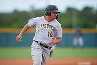 GCL Pirates Emilson Rosado (10) running the bases during a Gulf Coast League game against the GCL Rays on August 7, 2019 at Charlotte Sports Park in Port Charlotte, Florida.  GCL Rays defeated the GCL Pirates 5-3 in the second game of a doubleheader.  (Mike Janes/Four Seam Images)