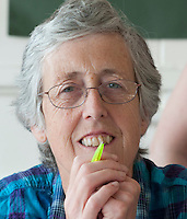 Portrait of a student in a Spanish class, Adult Learning Centre, Guildford, Surrey.