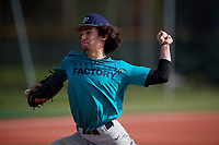 Keegan McCarty (57) of Saint Joseph, Illinois during the Baseball Factory Pirate City Christmas Camp & Tournament on December 30, 2018 at Pirate City in Bradenton, Florida. (Mike Janes/Four Seam Images)