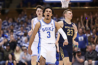 DUKE, NC - FEBRUARY 15: Tre Jones #3 of Duke University reacts after a play during a game between Notre Dame and Duke at Cameron Indoor Stadium on February 15, 2020 in Duke, North Carolina.