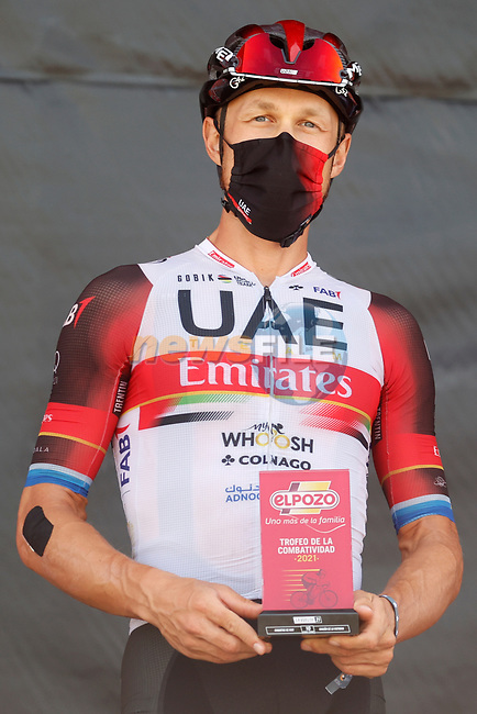 Matteo Trentin (ITA) UAE Team Emirates most aggressive rider from yesterday's stage at sign on before the start of Stage 11 of La Vuelta d'Espana 2021, running 133.6km from Antequera to Valdepeñas de Jaén, Spain. 25th August 2021.     <br /> Picture: Luis Angel Gomez/Photogomezsport   Cyclefile<br /> <br /> All photos usage must carry mandatory copyright credit (© Cyclefile   Luis Angel Gomez/Photogomezsport)