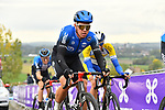 Michael Valgren (DEN) NTT Pro Cycling on the final ascent of the Paterberg during the Tour of Flanders 2020 running 244km from Antwerp to Oudenaarde, Belgium. 18th October 2020.  <br /> Picture: Serge Waldbillig   Cyclefile<br /> <br /> All photos usage must carry mandatory copyright credit (© Cyclefile   Serge Waldbillig)