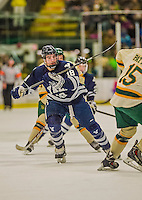 4 January 2014:  Yale University Bulldogs forward Kenny Agostino, a Senior from Flanders, NJ, in first period action against the University of Vermont Catamounts at Gutterson Fieldhouse in Burlington, Vermont. With an empty net and seconds remaining, the Cats came back to tie the game 3-3 against the 10th seeded Bulldogs. Mandatory Credit: Ed Wolfstein Photo *** RAW (NEF) Image File Available ***