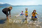 Enjoying a splashing time in the water in Fenit on Sunday, l to r: Ann Riardan Breen, Kallie Heffernan, Daisy Riordan Breen and Brogan Heffernan.