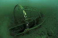 lake typical old boat wreck, Lugano lake, freshwater, Ticino, Switzerland