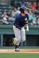 First baseman Dash Winningham (34) of the Columbia Fireflies bats in a game against the Greenville Drive on Thursday, April 21, 2016, at Fluor Field at the West End in Greenville, South Carolina. Columbia won, 13-9. (Tom Priddy/Four Seam Images)