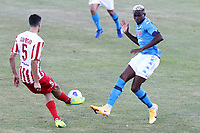 Victor Osimhen of SSC Napoli and Marco Soprano SS Teramo compete for the ball<br /> during the friendly football match between SSC Napoli and SS Teramo Calcio 1913 at stadio Patini in Castel di Sangro, Italy, September 04, 2020. <br /> Photo Cesare Purini / Insidefoto