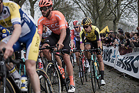 Wout Van Aert (BEL) riding the 'Paddestraat' cobbles.<br /> <br /> 103rd Ronde van Vlaanderen 2019<br /> One day race from Antwerp to Oudenaarde (BEL/270km)<br /> <br /> ©kramon
