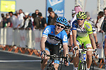 Tyler Farrar (USA) Garmin-Cervelo crosses the finish line of  Stage 1 of the Tour of Qatar 2012 running 142.5km from Barzan Towers to Doha Golf Club, Doha, Qatar. 5th February 2012.<br /> (Photo by Eoin Clarke/NEWSFILE).