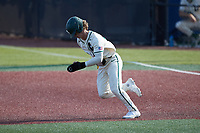 Dominic Pilolli (22) of the Charlotte 49ers takes off for second base during the game against the Old Dominion Monarchs at Hayes Stadium on April 25, 2021 in Charlotte, North Carolina. (Brian Westerholt/Four Seam Images)