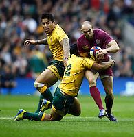 Photo: Richard Lane/Richard Lane Photography. England v Australia. QBE Autumn Internationals. 17/11/2012. England's Charlie Sharples attacks.