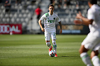 LOS ANGELES, CA - APRIL 17: Žan Kolmanič #21 of Austin FC moves with the ball during a game between Austin FC and Los Angeles FC at Banc of California Stadium on April 17, 2021 in Los Angeles, California.