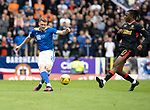 St Johnstone v Rangers…11.09.21  McDiarmid Park    SPFL<br />James Brown and Jo Aribo<br />Picture by Graeme Hart.<br />Copyright Perthshire Picture Agency<br />Tel: 01738 623350  Mobile: 07990 594431