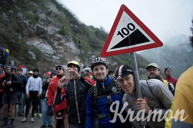 100% fans waiting for the riders up the dirt roads of the Colle delle Finestre (2178m)<br /> <br /> Giro d'Italia 2015<br /> stage 20: Saint Vincent - Sestriere (199km)