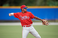 Philadelphia Phillies Arquimedes Gamboa (30) throws to first base during an Instructional League game against the Toronto Blue Jays on October 7, 2017 at the Englebert Complex in Dunedin, Florida.  (Mike Janes/Four Seam Images)
