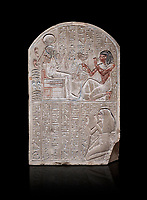 Ancient Egyptian stele dedicated to the god Khonsu by draftsman Pay, limestone, New Kingdom, 19th Dynasty, (1279-1213 BC), Deir el-Medina, ODrovetti cat 1553. Egyptian Museum, Turin. black background,