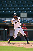 Bradenton Marauders Jasiah Dixon (32) bats during a game against the Palm Beach Cardinals on May 30, 2021 at LECOM Park in Bradenton, Florida.  (Mike Janes/Four Seam Images)