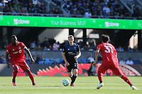 SAN JOSE, CA - FEBRUARY 29: Tommy Thompson #22 of the San Jose Earthquakes during a game between Toronto FC and San Jose Earthquakes at Earthquakes Stadium on February 29, 2020 in San Jose, California.