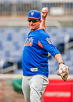 22 September 2018: New York Mets AA Manager Tony DeFrancesco tosses ball during batting practice prior to the start of play against the Washington Nationals at Nationals Park in Washington, DC. The Nationals shut out the Mets 6-0 in the 3rd game of their 4-game series. Mandatory Credit: Ed Wolfstein Photo *** RAW (NEF) Image File Available ***