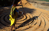 INDIA Andhra Pradesh, woman applies rice chaff in brick oven for burning / INDIEN Andhra Pradesh, Frau streut Reisspreu als Brennstoff in Ziegelofen