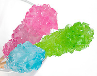 Wooden sticks covered with rock candy