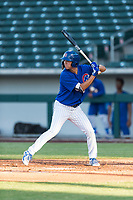 AZL Cubs 1 right fielder Kwang-Min Kwon (27) at bat during an Arizona League playoff game against the AZL Rangers at Sloan Park on August 29, 2018 in Mesa, Arizona. The AZL Cubs 1 defeated the AZL Rangers 8-7. (Zachary Lucy/Four Seam Images)
