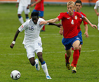 Blair Turgott (L) compete for the ball with Uros Radakovic of Serbia during the UEFA U-17 championship Group A match between Serbia and England on May 9, 2011 in Indjija, Serbia (Photo by Srdjan Stevanovic/Starsportphoto.com)