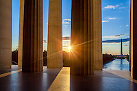 Washington Monument from the Lincoln Memorial at Sunrise Washington DC<br /> Washington DC Photography