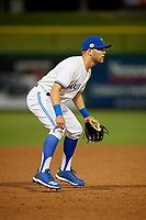 Dunedin Blue Jays third baseman Cullen Large (4) during a Florida State League game against the Clearwater Threshers on April 4, 2019 at Spectrum Field in Clearwater, Florida.  Dunedin defeated Clearwater 11-1.  (Mike Janes/Four Seam Images)