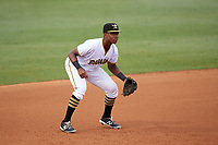 Bradenton Marauders third baseman Ke'Bryan Hayes (31) in the field during the second game of a doubleheader against the Tampa Yankees on June 14, 2017 at LECOM Park in Bradenton, Florida.  Tampa defeated Bradenton 5-1.  (Mike Janes/Four Seam Images)